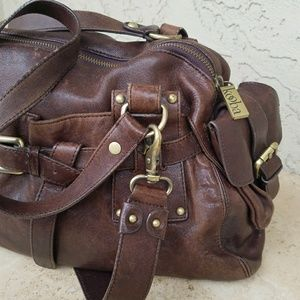 Kooba Cordovan Leather Saddle Bag Satchel